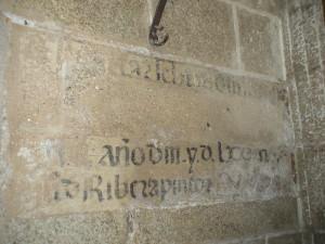 Fig 1 Leyenda con la fecha y firma de Juan de Ribera