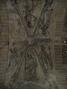 Fig 12 En torno al anagrama de la Virgen, los padres de la Iglesia Latina, Santa Bárbara y Lázaro