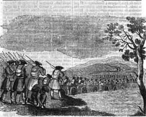 Fig. 1. Los carlistas cruzando el río Guadiana por un puente realizado con carros