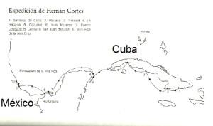 Lám 1. Ruta de Cortés desde Cuba hasta Veracruz