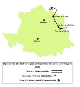 Mapa 2. Recorrido de la expedición de don Basilio por la provincia de Cáceres. Abril-mayo de 1838. Elaboración propia